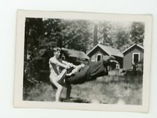 Handsome fit  shirtless guy acrobatic pose friend  Vintage photo Gay interest