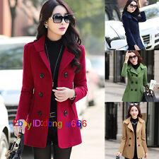Korean fashion women's section double-breasted Slim woolen jacket coat