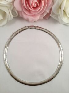 Vintage Jewellery Italian 925 Sterling Silver Omega Chain Necklace Jewelry Retro