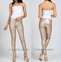 GOLD SEQUIN LEGGINGS Pants Metallic Stretch Long Womens NEW S M L 1X 2X 3X 4X