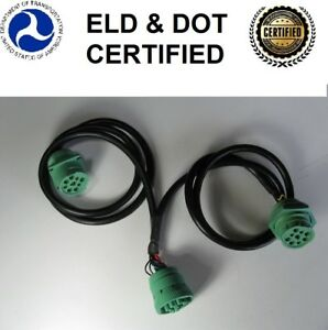 """9 pin GREEN Type 2 Y Cable Splitter Adapter 40"""" Freightliner, Paccar, IH, ELD"""