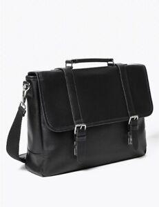 Marks & Spencer Black Buckle Briefcase Leather Laptop Bag Satchel RRP£79 BR257