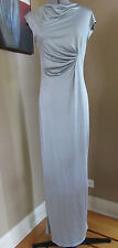 NWT Poleci Long Silver 100% Silk Coctail Dress in Size Medium