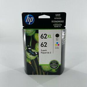 NEW Genuine HP 62XL Black 62 Tri-Color 2-Pack Printer Ink Cartridge OEM SEALED