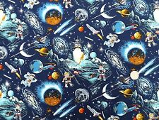 Space Odyssey Moon Landing fabric fq 50 x 56 cm Nutex 89050-103 100% Cotton