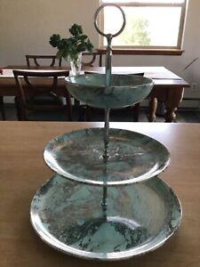 Santa Anita Ware California Pottery Mist Mid-Century 3 Tiered  Serving Tidbit Pl