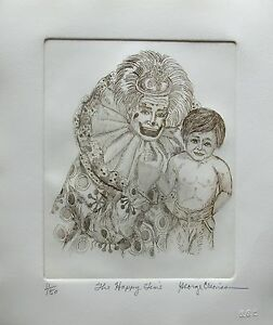 "GEORGE CRIONAS ""HAPPY TIME"" Hand Signed Limited Edition Art Etching CLOWN"