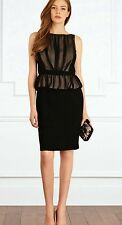 COAST SHANDRA SHEER BLACK CRINKLE SILK CHIFFON PEPLUM PENCIL DRESS 8 TWICE £150