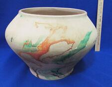 Vintage Large Nemadji USA Pottery Floor Vase Art  Beige Orange Green