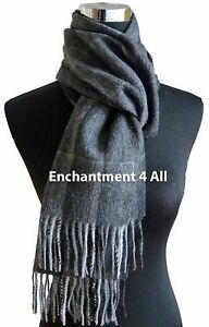 New 100% 2-Ply Cashmere Classic Plaid Neck Scarf Muffler Men, Black