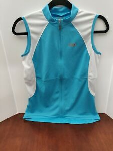New Louis Garneau Women's Cycling Jersey Full-Zip Sleeveless  Large  Blue/White