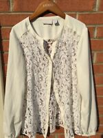 CHICOS Lace Sheer Beige & White Button Up Blouse shirt Top size 2