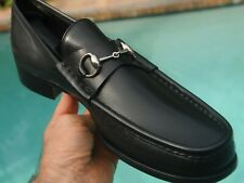 Men's Gucci Black leather  Horse bit Loafers brand size15 D US 13.5 Approx.