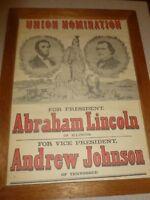 Scarce Republican Union Nomination Lincoln & Johnson Poster Print 1960s Reprint