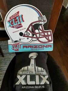 NFL Super Bowl XLIX Arizona 2015Black XL Hoody Plus Rare 2008 XLII Felt Sign