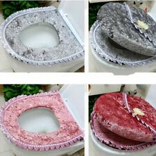 2x Toilet Seat Cover Set Velvet Mat Cover Soft Warmer Zipper Bathroom Home Decor