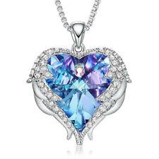 Halskette Herz Anhänger Schutz Engel Flügel mit SWAROVSKI® Kristall 18K Weißgold