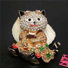 Champagne Rhinestone Woman Brooch Pin Betsey Johnson Cute Flower Cat Basket