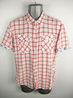 MENS TED BAKER RED/WHITE CHECKED BUTTON UP CASUAL SHORT SLEEVED SHIRT UK L LARGE