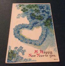 Vintage Paper Ephemera, Postcard 1912, Happy New Years. Blue Flowers