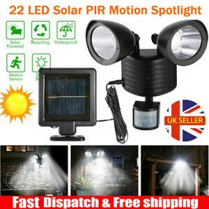 22LED Solar Powered PIR Motion Sensor Security Spotlight Outdoor Garden Light UK