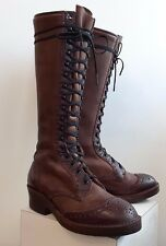 Wesco Carrie Linn 16 inch Brown Custom Distressed Leather Women's Boot Size 8C