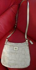 COACH #F19260 Penelope Linen Signature C Crossbody Bag Leather trim