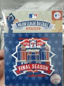 Official Final Season Texas Rangers Patch Globe Life Park 2019 Baseball Jersey
