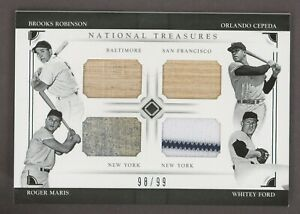 2016 National Treasures Brooks Robinson Cepeda Maris Ford Jersey Bat Patch /99