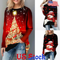Women's Loose Christmas Tree Printed  Casual Tops Round Neck T-shirt Blouse US