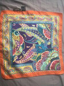 Holidays Sale! ETRO Milano Paisley Pocket Square (Handkerchief)100% Italian Silk