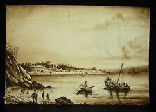 Dessin original d'époque XIXe lavis d'encreretour de pêche en Bretagne pêcheurs