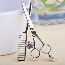 Hair Salon Apron Badge Brooch Steel Hairdresser Scissors & Comb Lapel Beauty