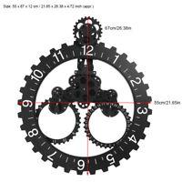 3D Mécanique Grande Horloge Murale Roue à Engrenages Rotatifs Calendrie Moderne