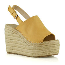 Ladies Mustard Tan High Wedge Open Toe Sandals with Ankle Strap S Oliver 28315