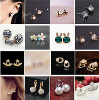 1 Pair New Fashion Women Cute Gold Silver Plated Ear Stud Earrings Jewelry Gift
