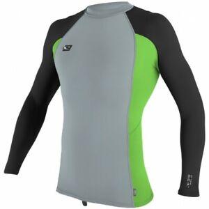 O'Neill Men's Premium Skins UPF 50+ Long Sleeve Rash Guard Grey/Dayglo/Black  M