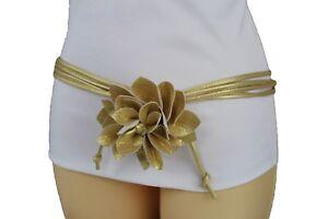 New Women Gold Skinny Faux Leather Fabric Wrap Around Fashion Flower Belt M L XL