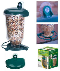 Wild Bird Feeder Glass Window Hanging Automatic Suction Cup Feed Seeds Garden
