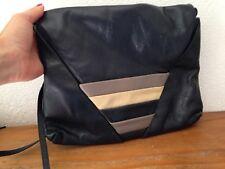 SUPERBE sac à main besace en cuir bleu marine LA BAGAGERIE vintage
