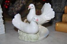 Wonderful Vintage Porceval Spain Turtle Doves Hand Painted Porcelain Figurine