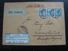 DEUTSCHES REICH 1927 first flight cover Konstanz to Innsbruck!
