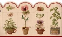 Kitchen Wallpaper Border Herb Pots Rust Trim Gingham Ribbon on Beige Background