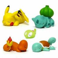 5pcs/set Pokemon Sleep Ver. Figures Pikachu Charmander Bulbasaur PVC Toy XY03