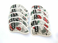 NEW! 10Pcs Union Jack Golf Iron Cover PU Headcover Set For ALL Brand
