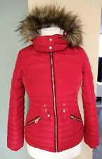 Lovely  Puffa Padded Winter Coat Jacket Faux Fur Hood Red Size 8 Ladies Womens