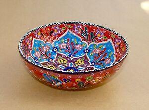 Handmade Beautiful Multicolour 15.5CM Home Decor Embossed Ceramic Bowl