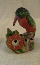 "Vintage Yankoware Flower Frog Kingfisher Bird Made in Japan 7 Holes 4"" Tall."
