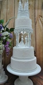 """WHITE HAND MADE FAIRY TALE CINDERELLA WEDDING CAKE SEPERATER  8"""""""