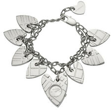 NEW-BURBERRY CHECK SILVER HEART CHARM,SWISS,S/STEEL BRACELET WATCH BU5262